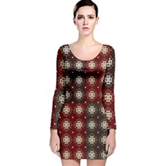 Decorative Pattern With Flowers Digital Computer Graphic Long Sleeve Velvet Bodycon Dress by Nexatart