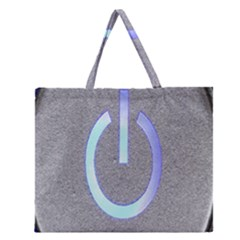 Close Up Of A Power Button Zipper Large Tote Bag by Nexatart