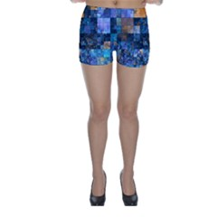 Blue Squares Abstract Background Of Blue And Purple Squares Skinny Shorts