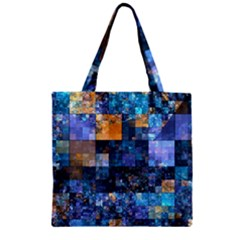 Blue Squares Abstract Background Of Blue And Purple Squares Zipper Grocery Tote Bag by Nexatart