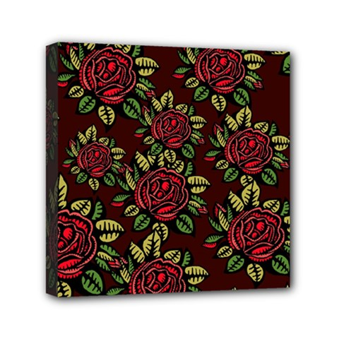 A Red Rose Tiling Pattern Mini Canvas 6  X 6  by Nexatart