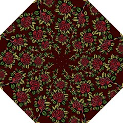 A Red Rose Tiling Pattern Folding Umbrellas by Nexatart
