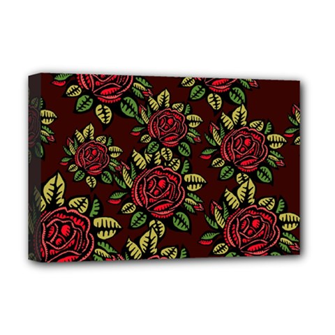 A Red Rose Tiling Pattern Deluxe Canvas 18  X 12