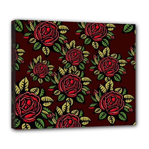 A Red Rose Tiling Pattern Deluxe Canvas 24  X 20   by Nexatart