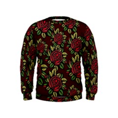 A Red Rose Tiling Pattern Kids  Sweatshirt
