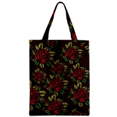 A Red Rose Tiling Pattern Zipper Classic Tote Bag by Nexatart