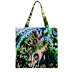 Dark Abstract Bubbles Zipper Grocery Tote Bag by Nexatart