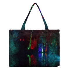 Illuminated Trees At Night Near Lake Medium Tote Bag by Nexatart
