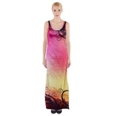 Floral Frame Surrealistic Maxi Thigh Split Dress