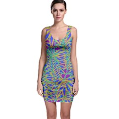 Abstract Floral Background Sleeveless Bodycon Dress