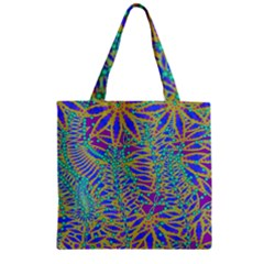 Abstract Floral Background Zipper Grocery Tote Bag by Nexatart