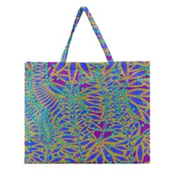 Abstract Floral Background Zipper Large Tote Bag by Nexatart