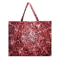 Water Drops Red Zipper Large Tote Bag by Nexatart