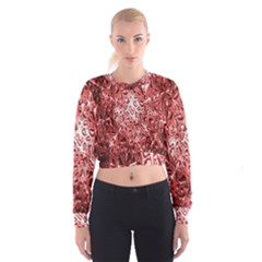 Water Drops Red Cropped Sweatshirt