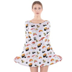 Sushi Lover Long Sleeve Velvet Skater Dress