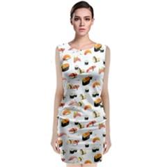 Sushi Lover Sleeveless Velvet Midi Dress