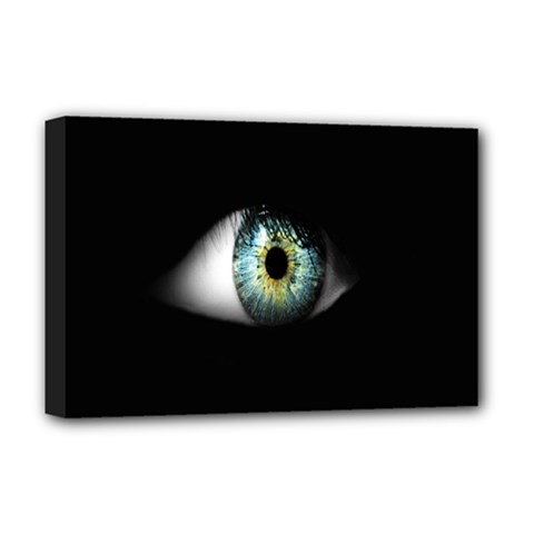 Eye On The Black Background Deluxe Canvas 18  X 12   by Nexatart