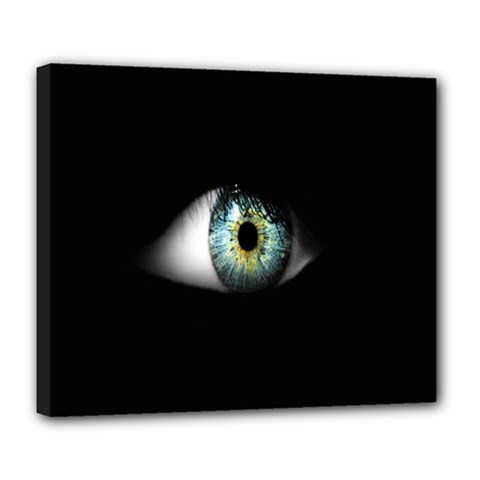 Eye On The Black Background Deluxe Canvas 24  X 20   by Nexatart