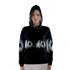 Eye On The Black Background Hooded Wind Breaker (women)