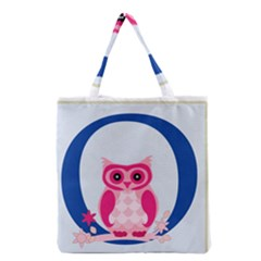 Alphabet Letter O With Owl Illustration Ideal For Teaching Kids Grocery Tote Bag by Nexatart