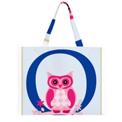 Alphabet Letter O With Owl Illustration Ideal For Teaching Kids Zipper Large Tote Bag by Nexatart