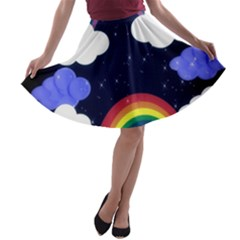 Rainbow Animation A Line Skater Skirt