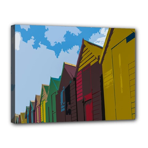 Brightly Colored Dressing Huts Canvas 16  X 12  by Nexatart