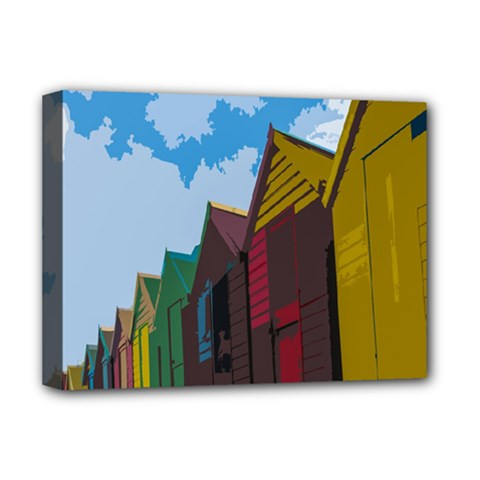 Brightly Colored Dressing Huts Deluxe Canvas 16  X 12