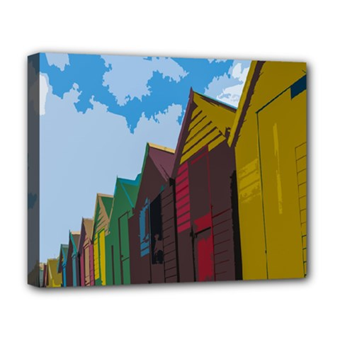 Brightly Colored Dressing Huts Deluxe Canvas 20  X 16   by Nexatart