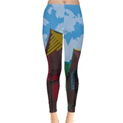 Brightly Colored Dressing Huts Leggings  by Nexatart