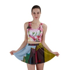 Brightly Colored Dressing Huts Mini Skirt