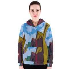 Brightly Colored Dressing Huts Women s Zipper Hoodie by Nexatart