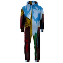 Brightly Colored Dressing Huts Hooded Jumpsuit (men)  by Nexatart