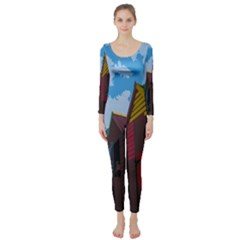 Brightly Colored Dressing Huts Long Sleeve Catsuit by Nexatart