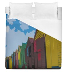 Brightly Colored Dressing Huts Duvet Cover (queen Size) by Nexatart