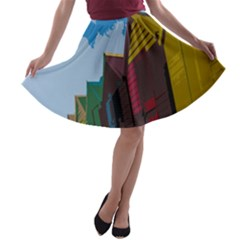 Brightly Colored Dressing Huts A Line Skater Skirt by Nexatart