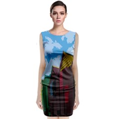 Brightly Colored Dressing Huts Classic Sleeveless Midi Dress by Nexatart