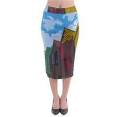 Brightly Colored Dressing Huts Midi Pencil Skirt by Nexatart