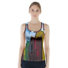 Brightly Colored Dressing Huts Racer Back Sports Top by Nexatart