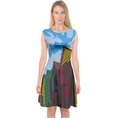 Brightly Colored Dressing Huts Capsleeve Midi Dress by Nexatart