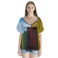 Brightly Colored Dressing Huts Flutter Sleeve Top by Nexatart