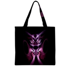 Angry Mantis Fractal In Shades Of Purple Grocery Tote Bag by Nexatart