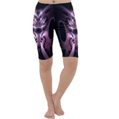 Angry Mantis Fractal In Shades Of Purple Cropped Leggings  by Nexatart