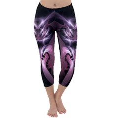 Angry Mantis Fractal In Shades Of Purple Capri Winter Leggings  by Nexatart