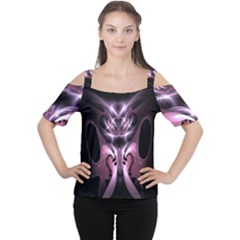 Angry Mantis Fractal In Shades Of Purple Women s Cutout Shoulder Tee