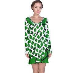 Abstract Clutter Long Sleeve Nightdress