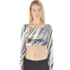 Wavy Ribbons Background Wallpaper Long Sleeve Crop Top