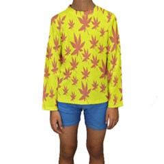 Autumn Background Kids  Long Sleeve Swimwear