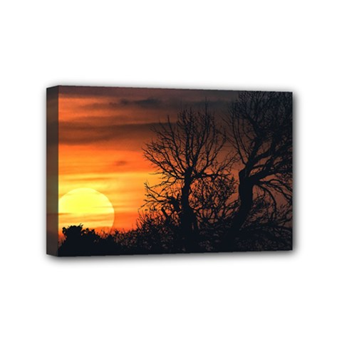 Sunset At Nature Landscape Mini Canvas 6  X 4  by dflcprints