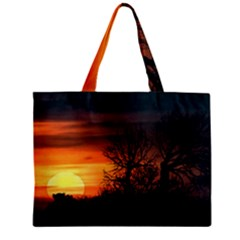 Sunset At Nature Landscape Zipper Mini Tote Bag by dflcprints